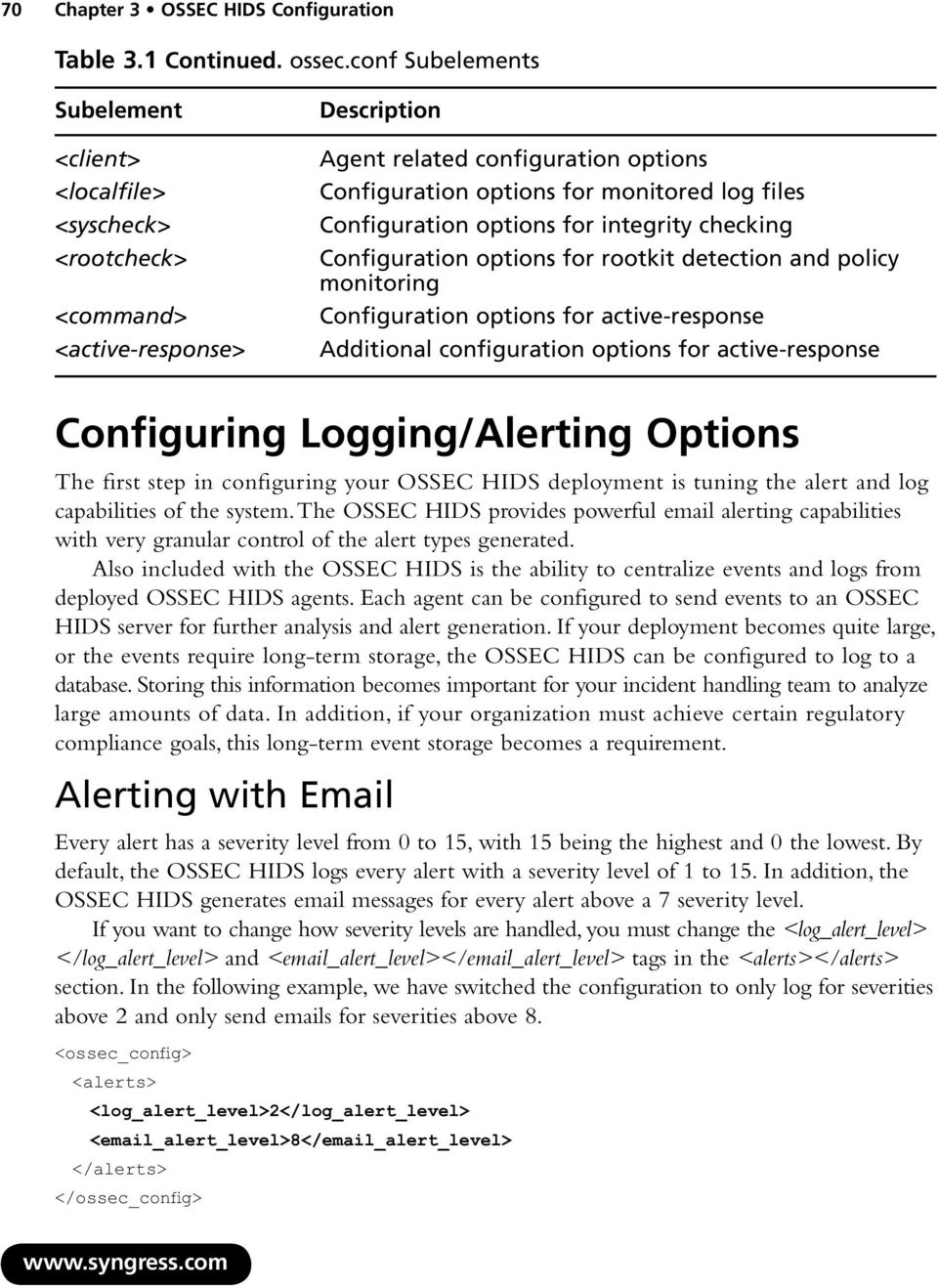 Configuration options for integrity checking Configuration options for rootkit detection and policy monitoring Configuration options for active-response Additional configuration options for