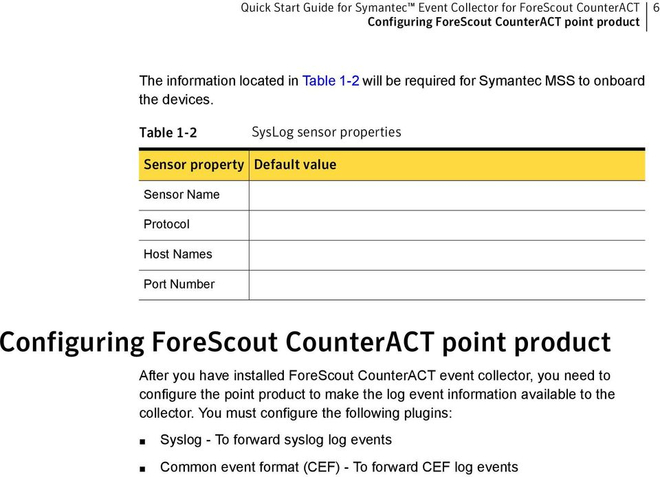product After you have installed ForeScout CounterACT event collector, you need to configure the point product to make the log event information