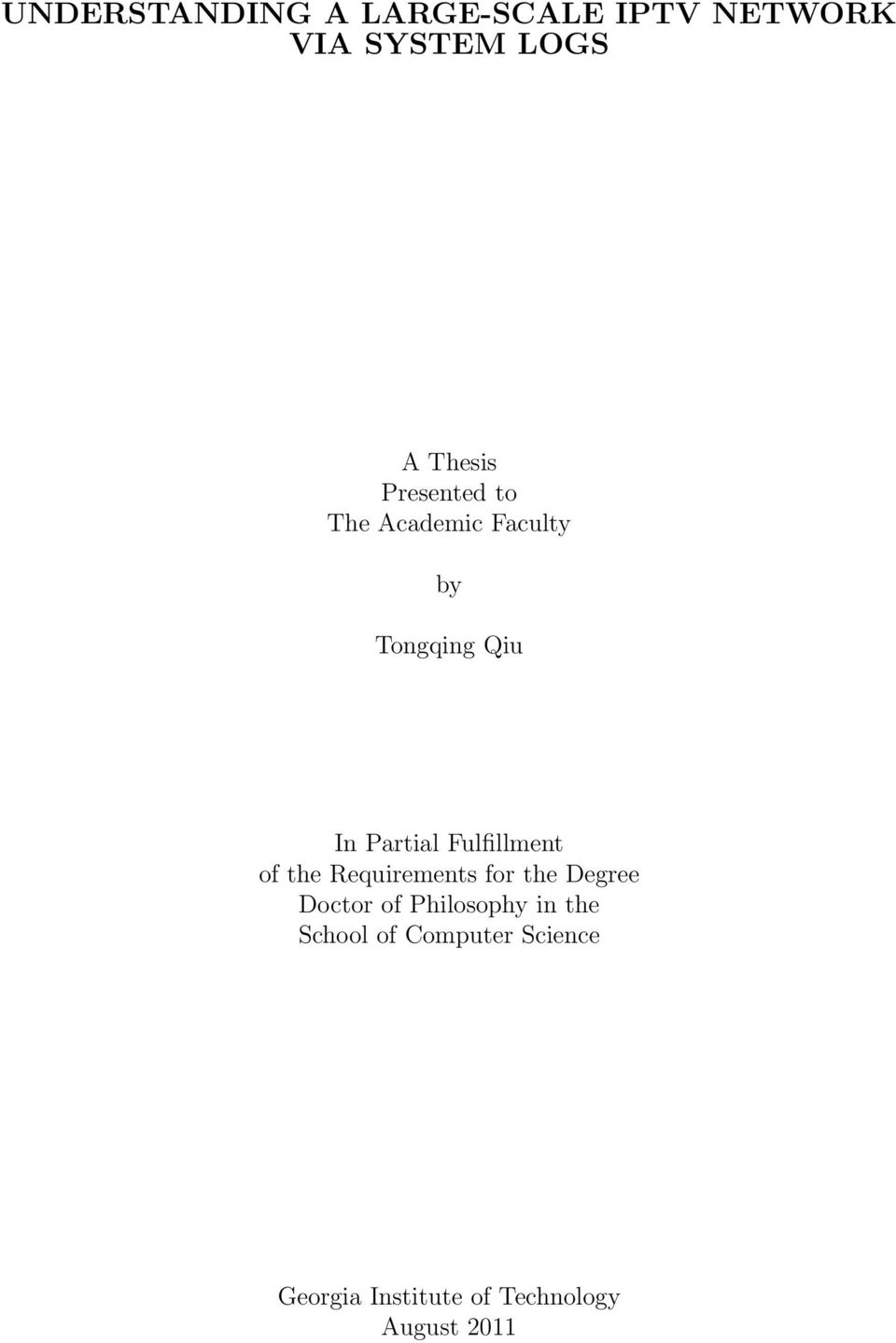 Fulfillment of the Requirements for the Degree Doctor of Philosophy