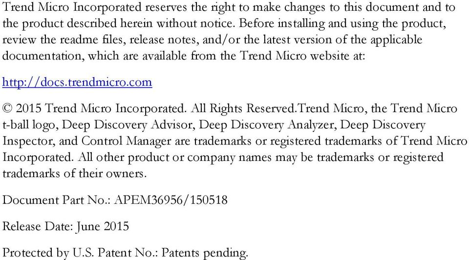 http://docs.trendmicro.com 2015 Trend Micro Incorporated. All Rights Reserved.
