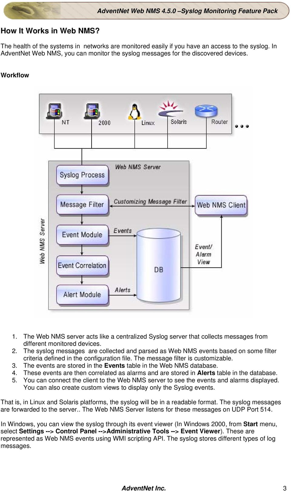 The Web NMS server acts like a centralized Syslog server that collects messages from different monitored devices. 2.