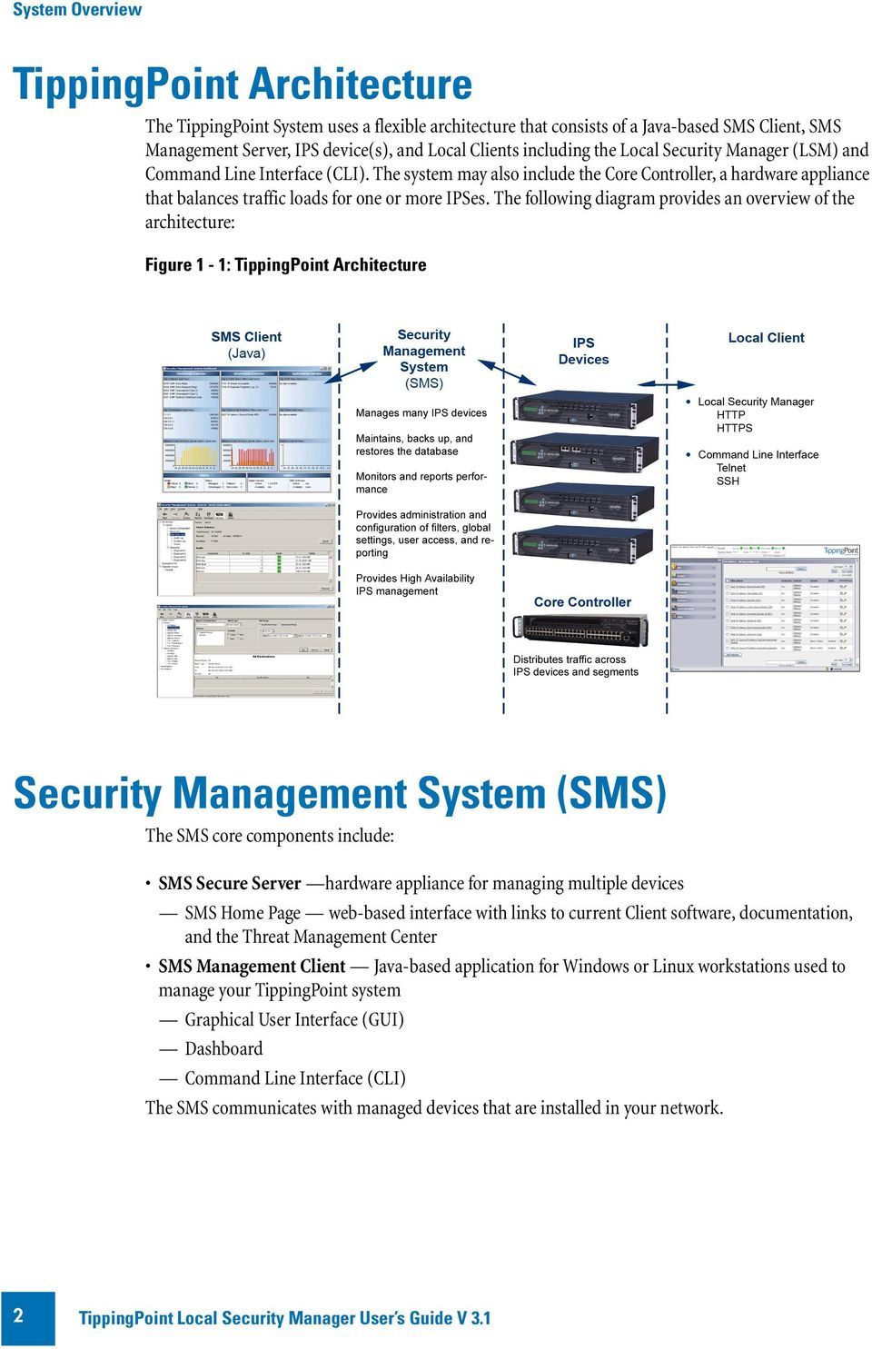 The following diagram provides an overview of the architecture: Figure 1-1: TippingPoint Architecture Security Management System (SMS) The SMS core components include: SMS Secure Server hardware