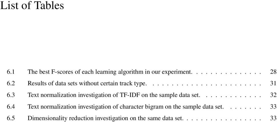 3 Text normalization investigation of TF-IDF on the sample data set............. 32 6.