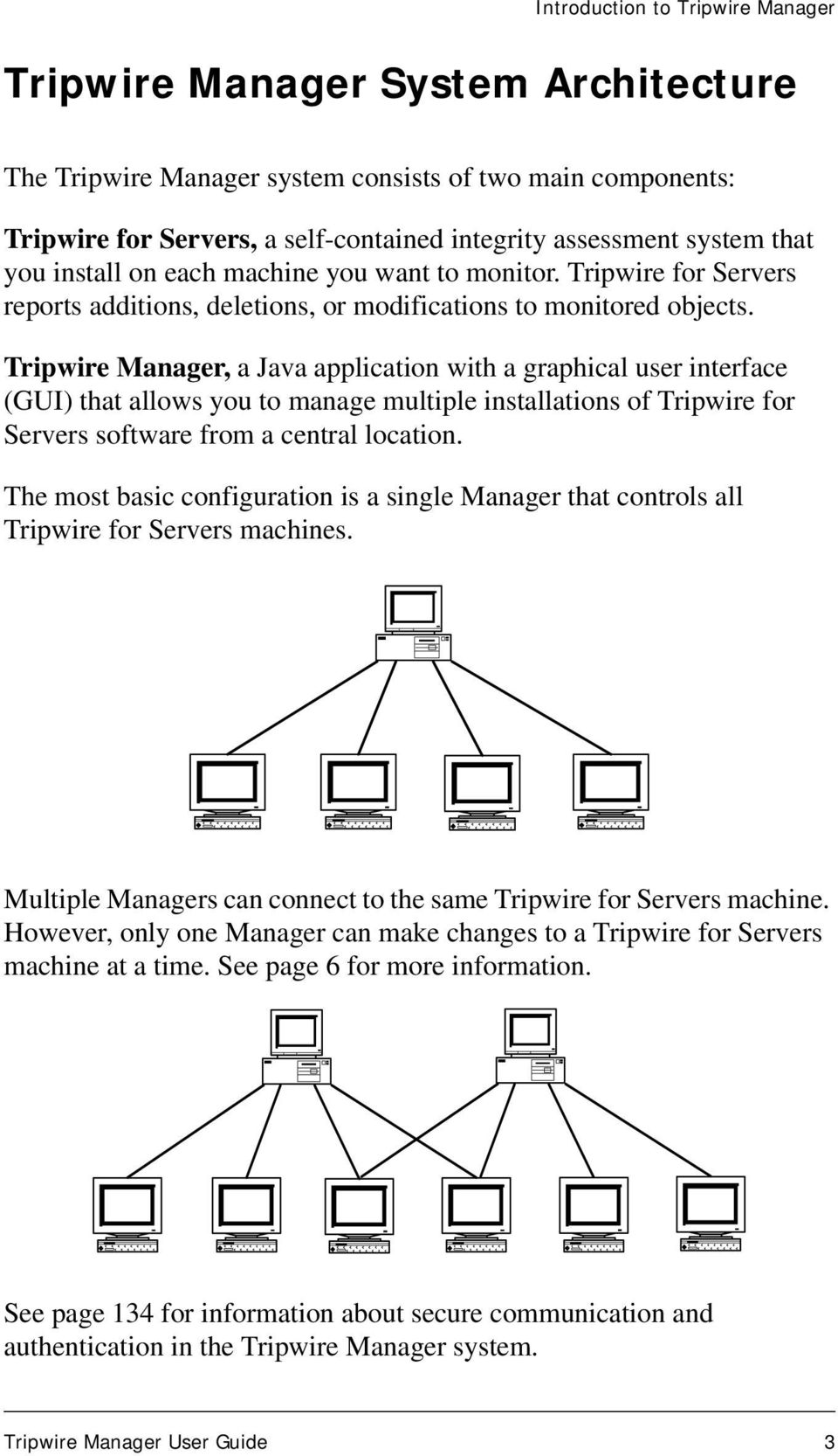 Tripwire Manager, a Java application with a graphical user interface (GUI) that allows you to manage multiple installations of Tripwire for Servers software from a central location.