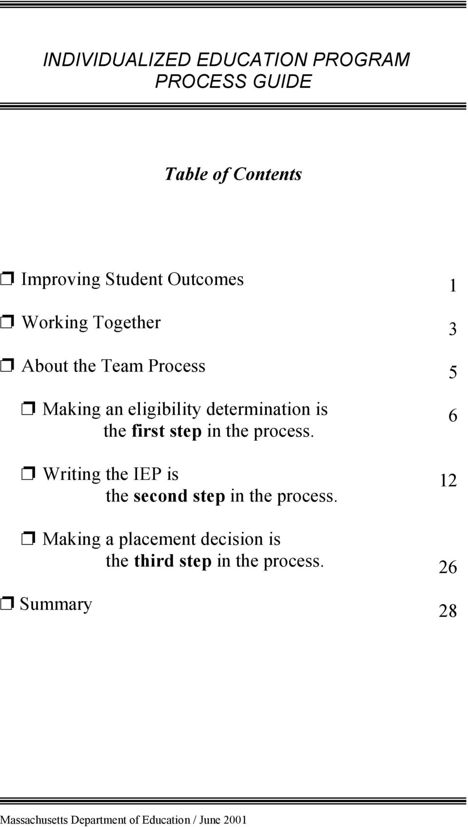 the process. 1 3 5 6 p Writing the IEP is 12 the second step in the process.