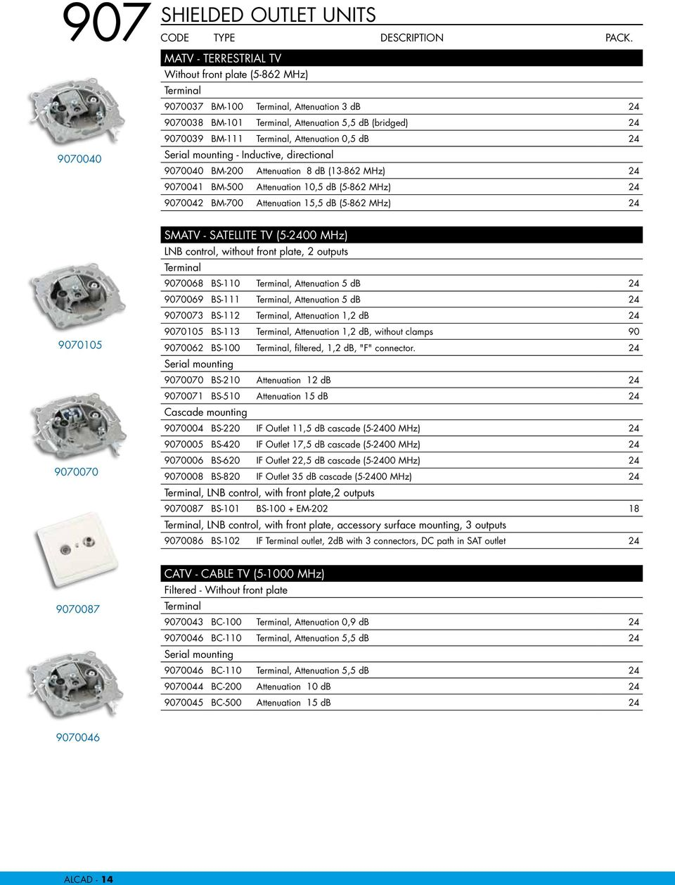BM-700 Attenuation 15,5 db (5-862 MHz) 24 9070105 9070070 SMATV - SATELLITE TV (5-2400 MHz) LNB control, without front plate, 2 outputs Terminal 9070068 BS-110 Terminal, Attenuation 5 db 24 9070069