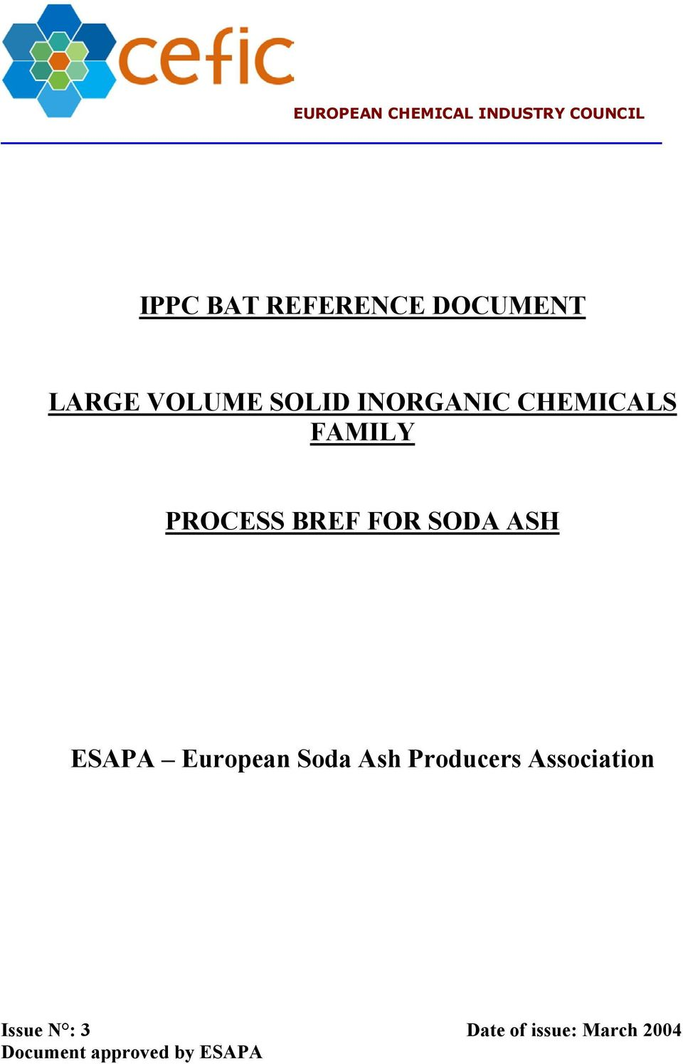 PROCESS BREF FOR SODA ASH ESAPA European Soda Ash Producers