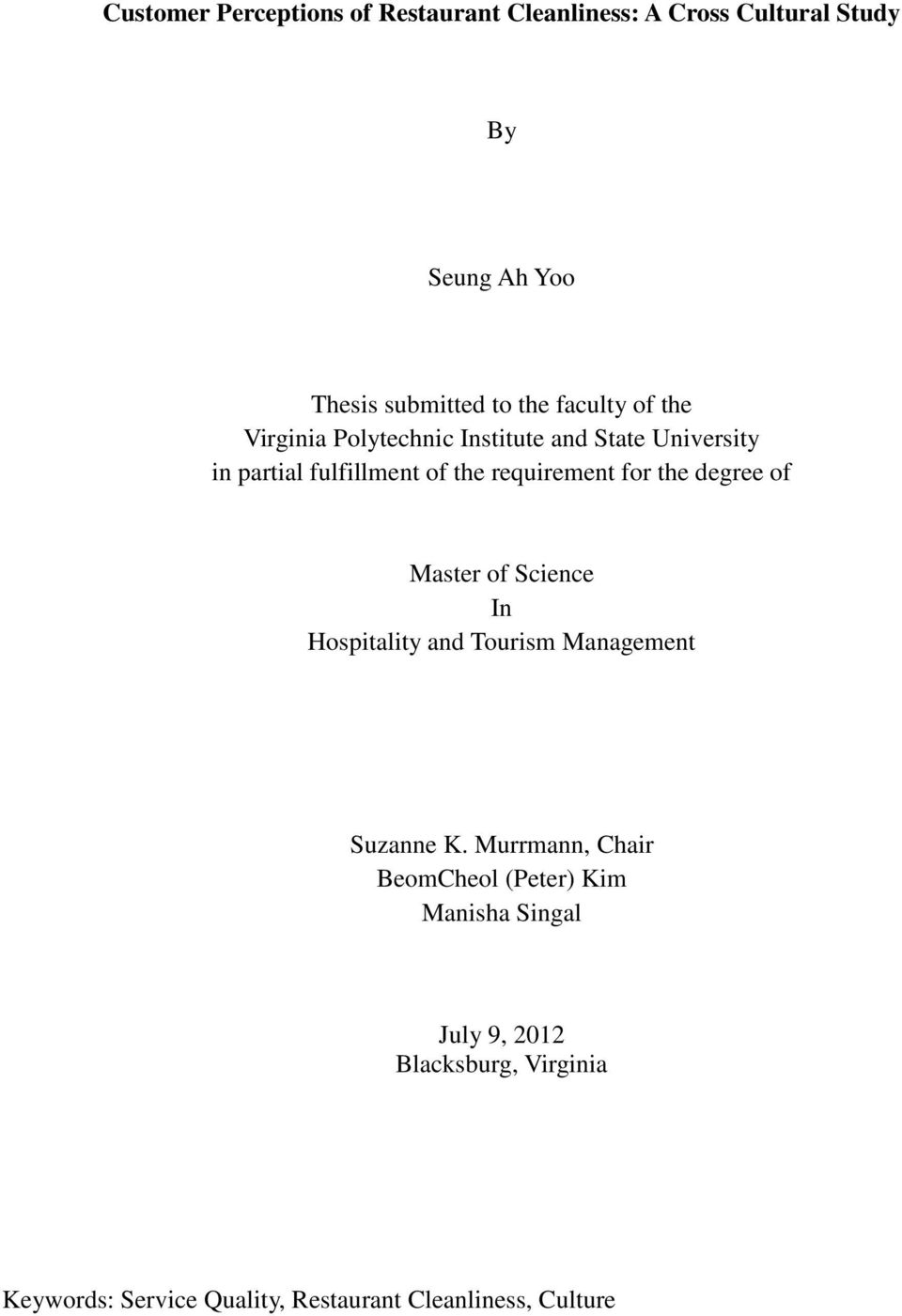 the degree of Master of Science In Hospitality and Tourism Management Suzanne K.