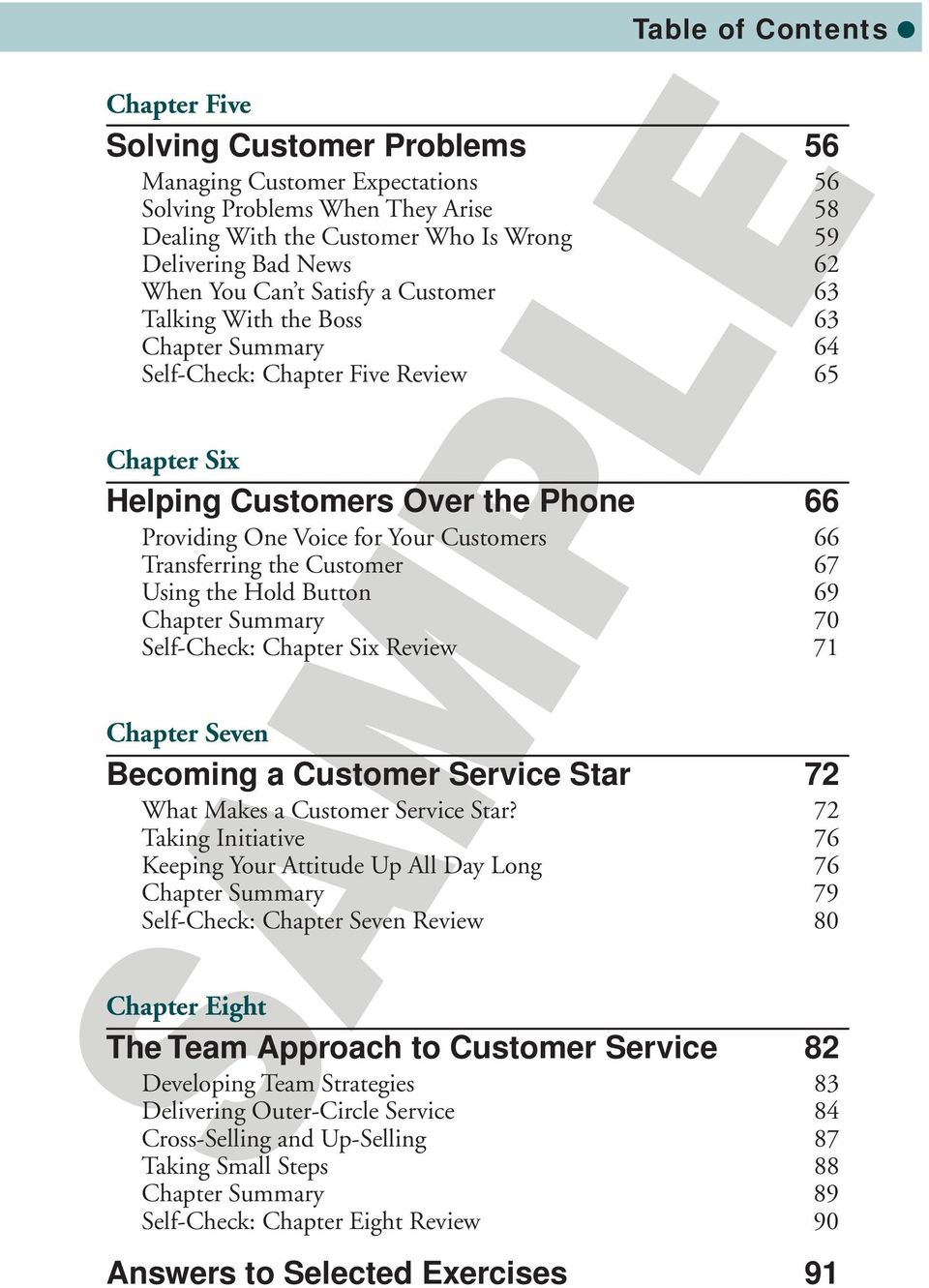 66 Transferring the Customer 67 Using the Hold Button 69 Chapter Summary 70 Self-Check: Chapter Six Review 71 Chapter Seven Becoming a Customer Service Star 72 What Makes a Customer Service Star?