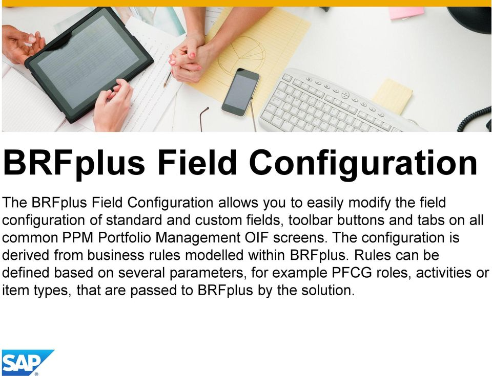 The configuration is derived from business rules modelled within BRFplus.