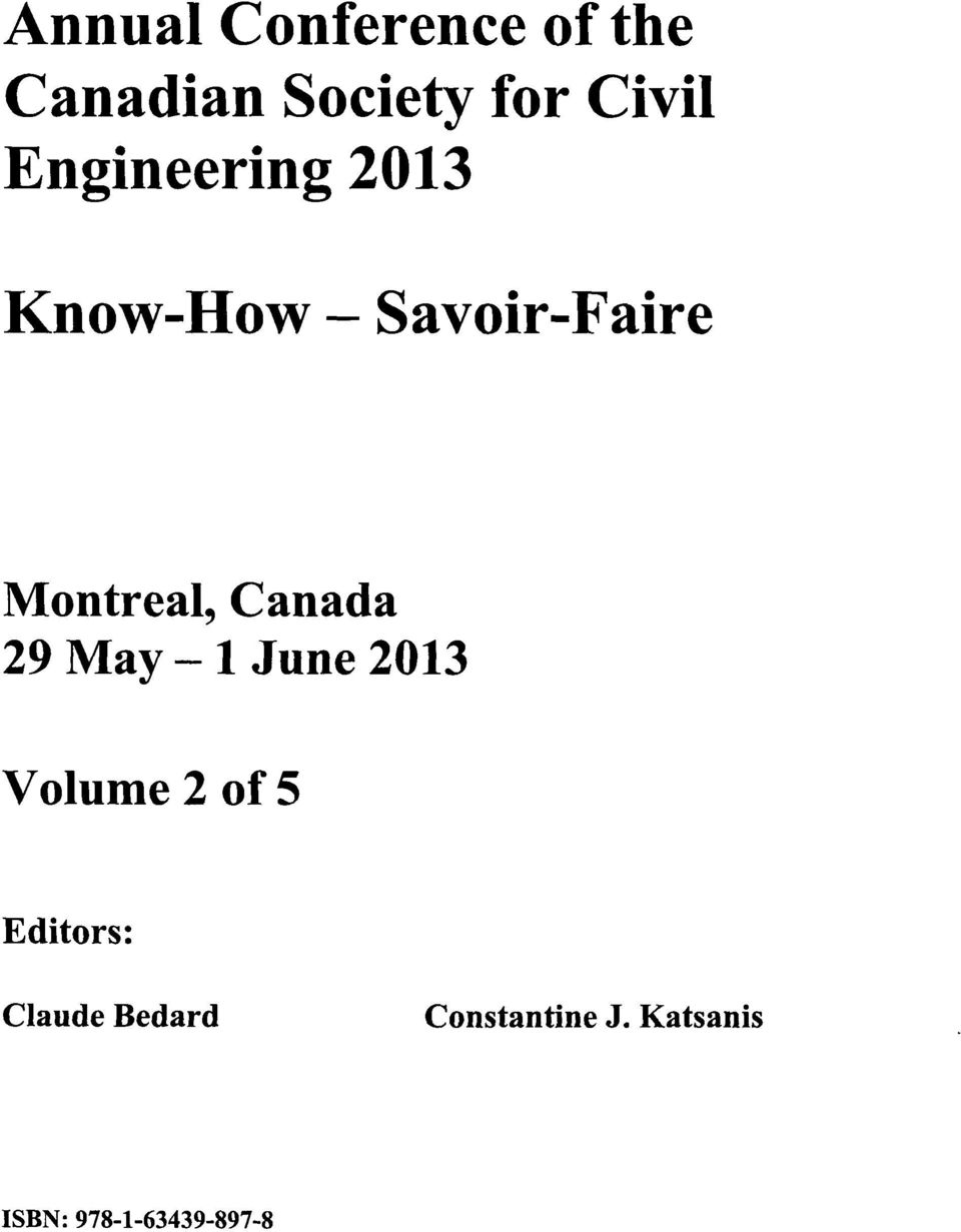Canada 29 May - 1 June 2013 Volume 2 of 5 Editors: