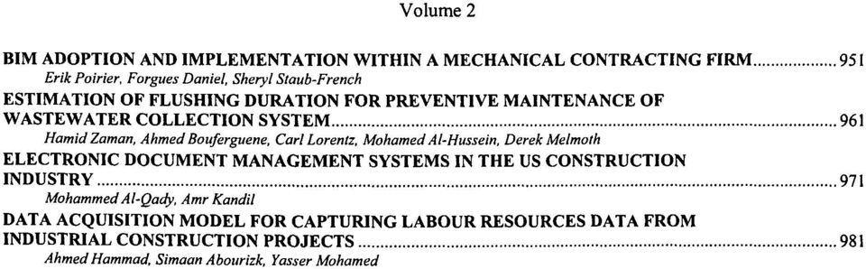 Lorentz, MohamedAl-Hussein, Derek Melmoth ELECTRONIC DOCUMENT MANAGEMENT SYSTEMS IN THE US CONSTRUCTION INDUSTRY 971 Mohammed Al-Qady, Amr