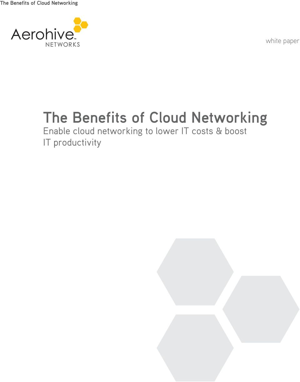 cloud networking to lower