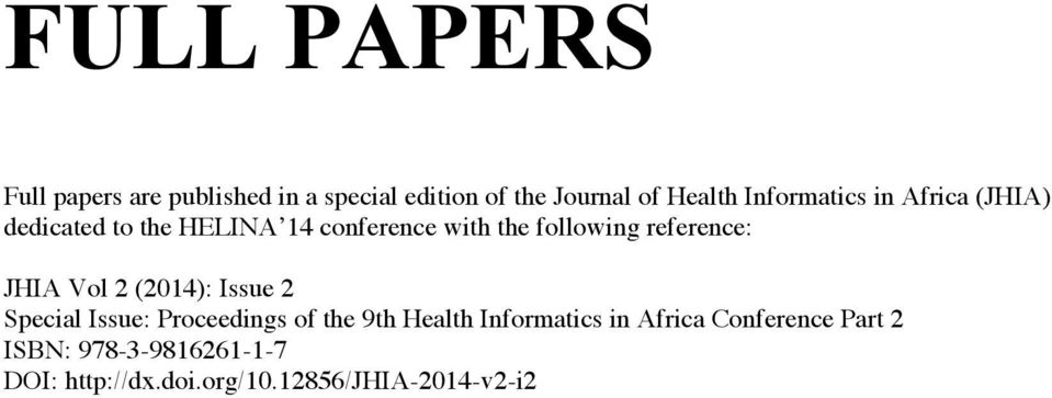 reference: JHIA Vol 2 (2014): Issue 2 Special Issue: Proceedings of the 9th Health