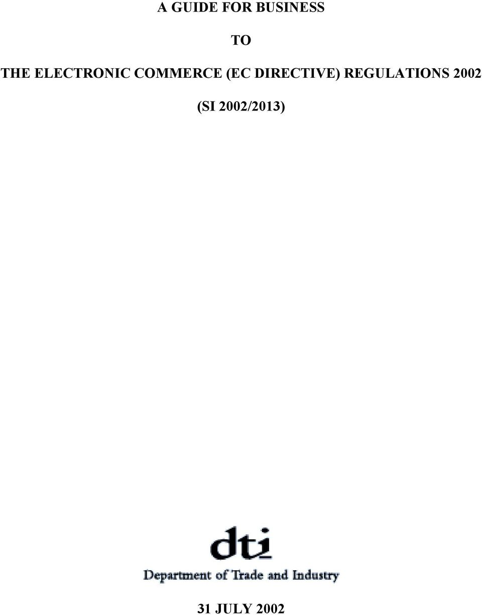 (EC DIRECTIVE) REGULATIONS