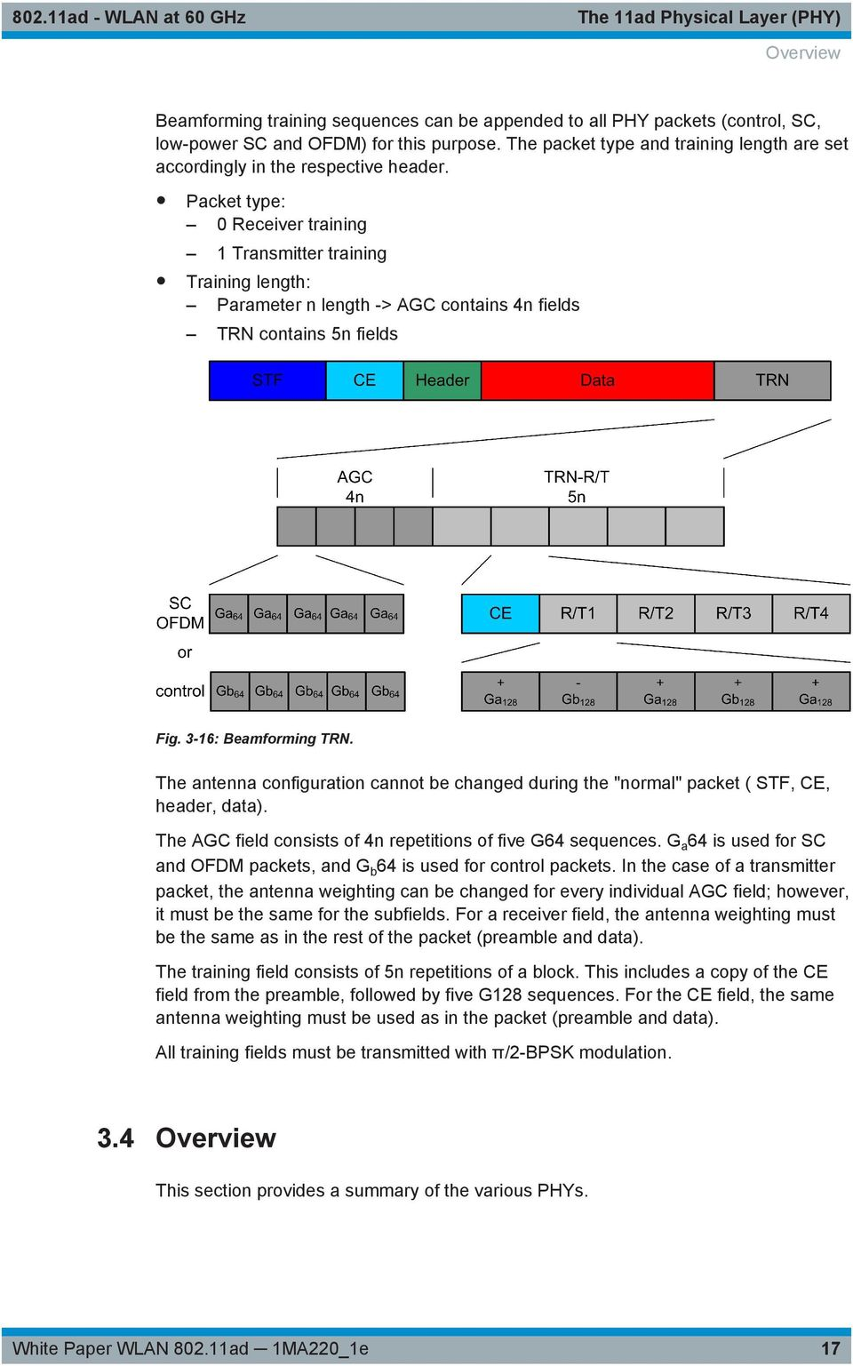 Packet type: 0 Receiver training 1 Transmitter training Training length: Parameter n length -> AGC contains 4n fields TRN contains 5n fields Fig. 3-16: Beamforming TRN.