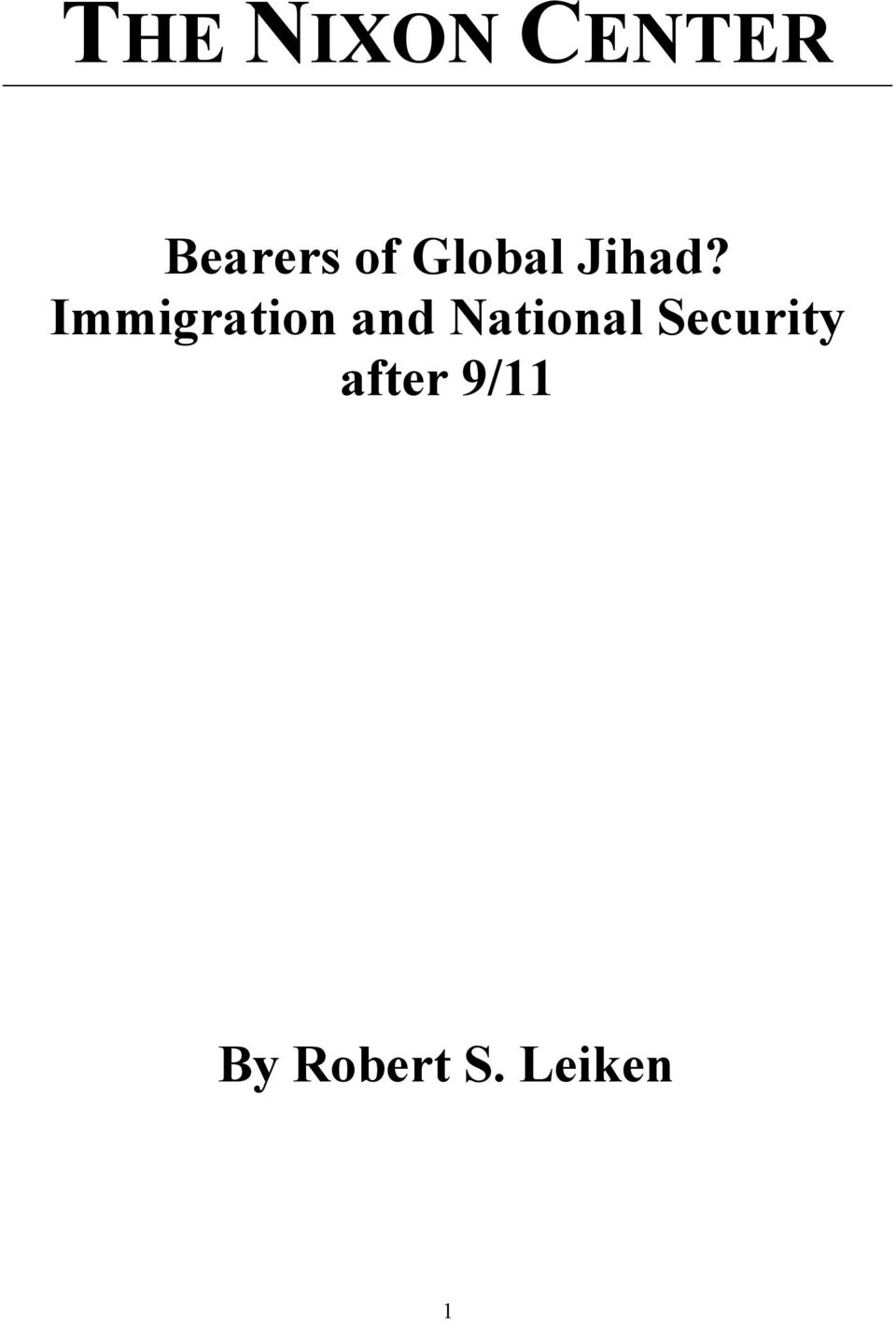 Immigration and National