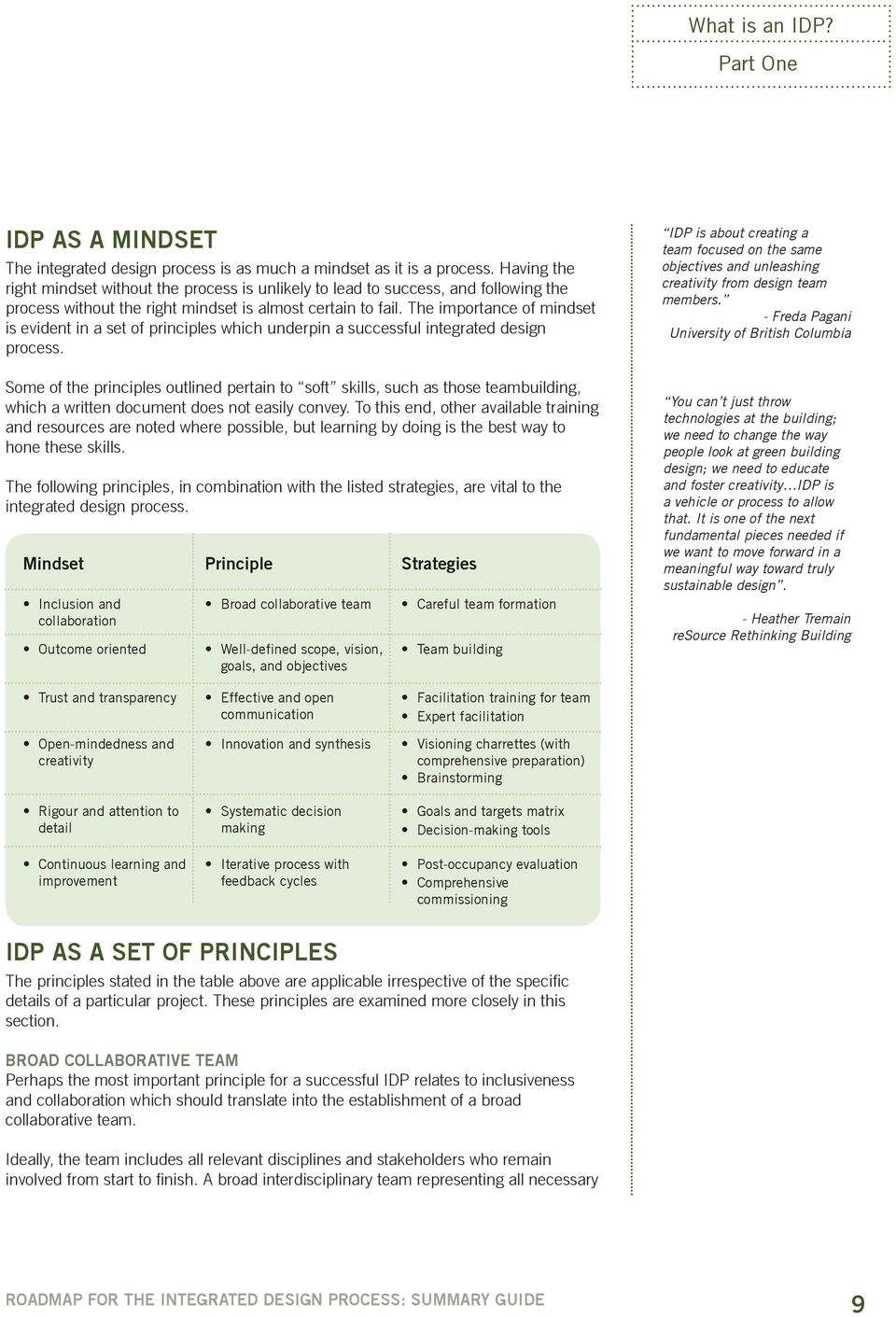 The importance of mindset is evident in a set of principles which underpin a successful integrated design process.