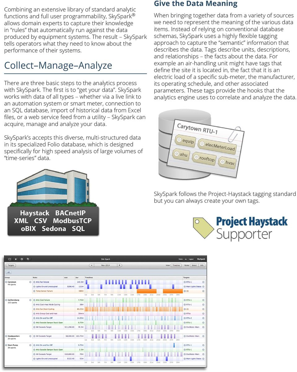 Collect Manage Analyze There are three basic steps to the analytics process with SkySpark. The first is to get your data.