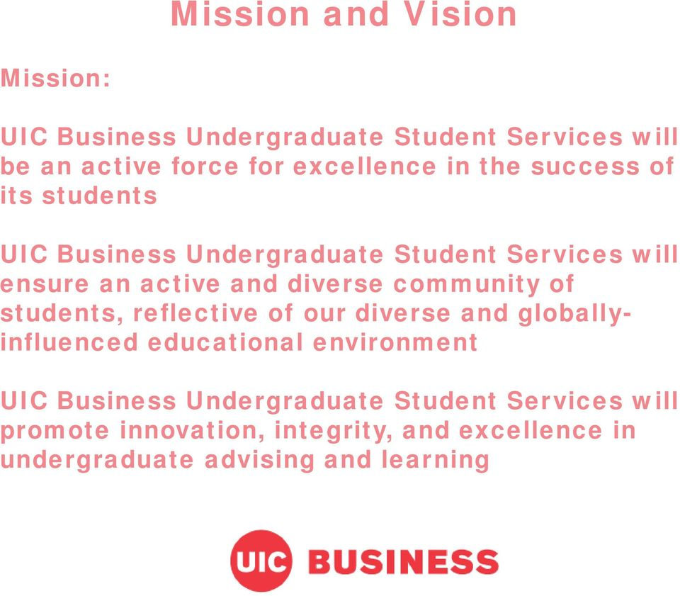 community of students, reflective of our diverse and globallyinfluenced educational environment UIC Business