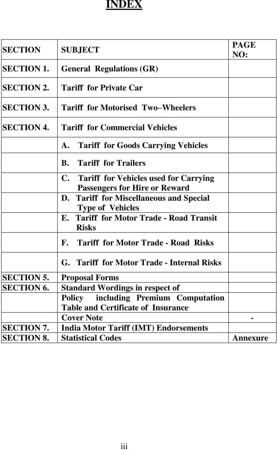 Tariff for Motor Trade - Road Transit Risks F. Tariff for Motor Trade - Road Risks PAGE NO: G. Tariff for Motor Trade - Internal Risks SECTION 5. Proposal Forms SECTION 6.