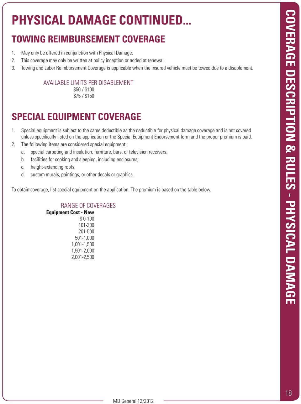 Special equipment is subject to the same deductible as the deductible for physical damage coverage and is not covered unless specifically listed on the application or the Special Equipment
