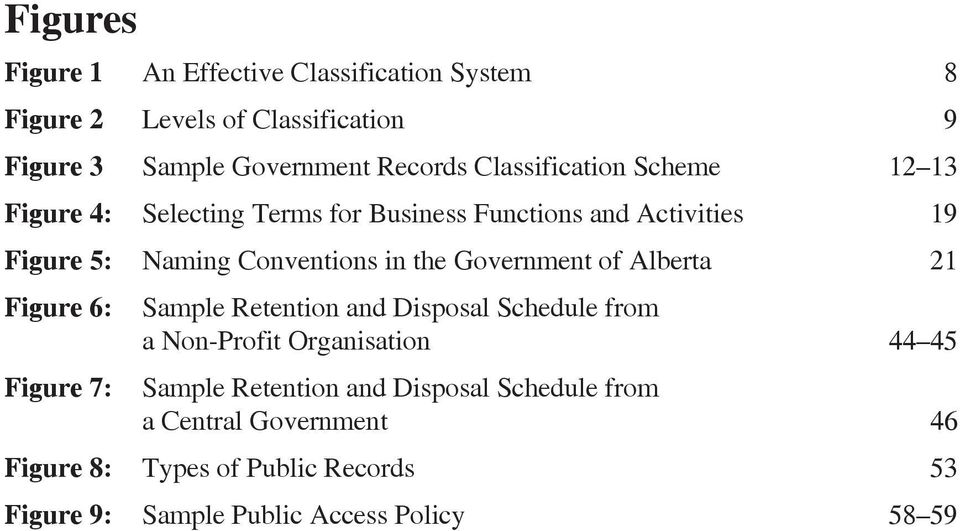 Government of Alberta 21 Figure 6: Sample Retention and Disposal Schedule from a Non-Profit Organisation 44 45 Figure 7: Sample