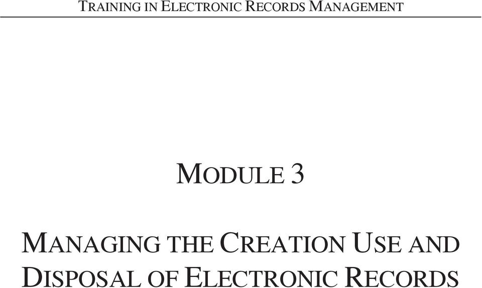 MANAGING THE CREATION USE