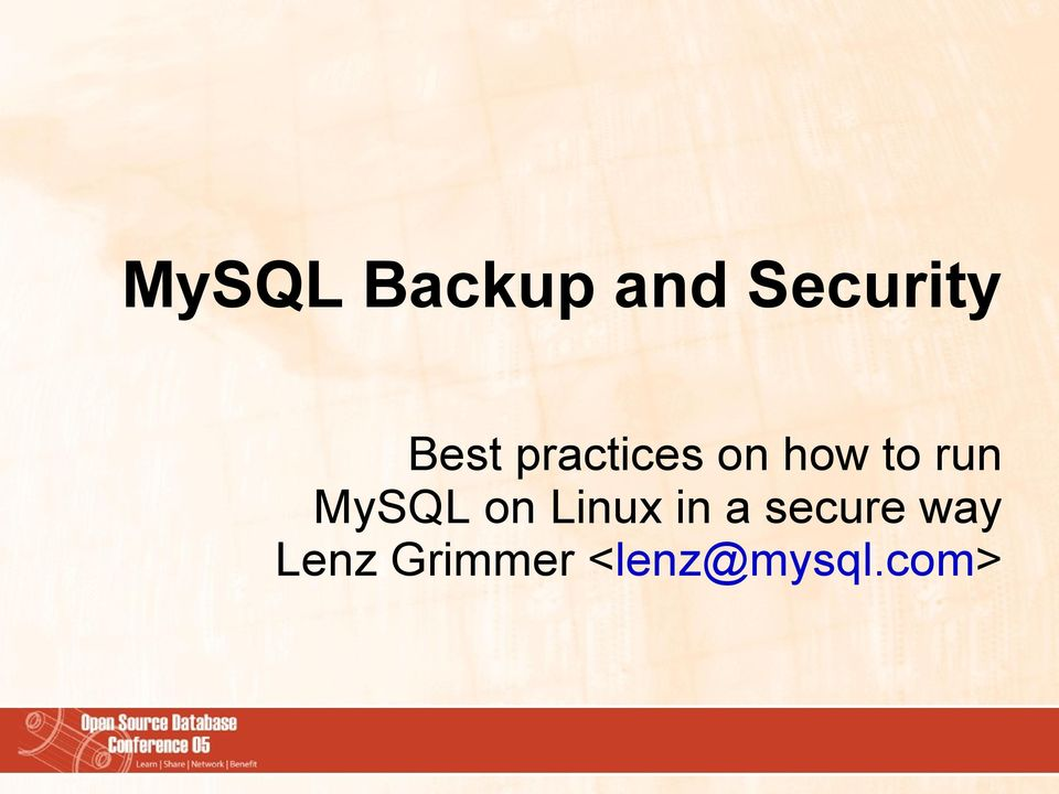 MySQL on Linux in a secure