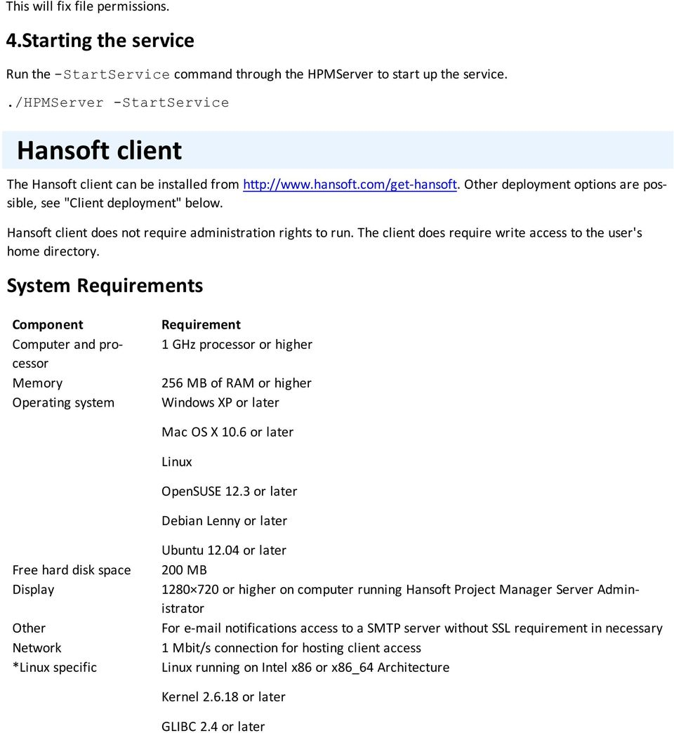 Hansoft client does not require administration rights to run. The client does require write access to the user's home directory.
