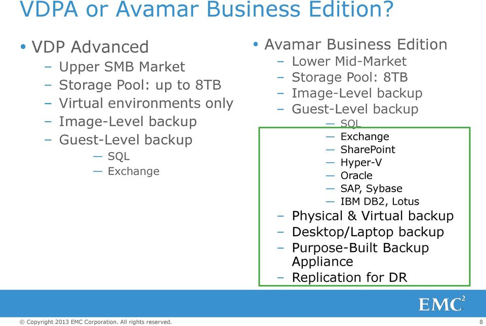 Guest-Level backup SQL Exchange Avamar Business Edition Lower Mid-Market Storage Pool: 8TB Image-Level