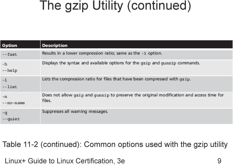 options used with the gzip