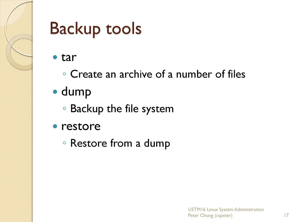 Backup the file system restore