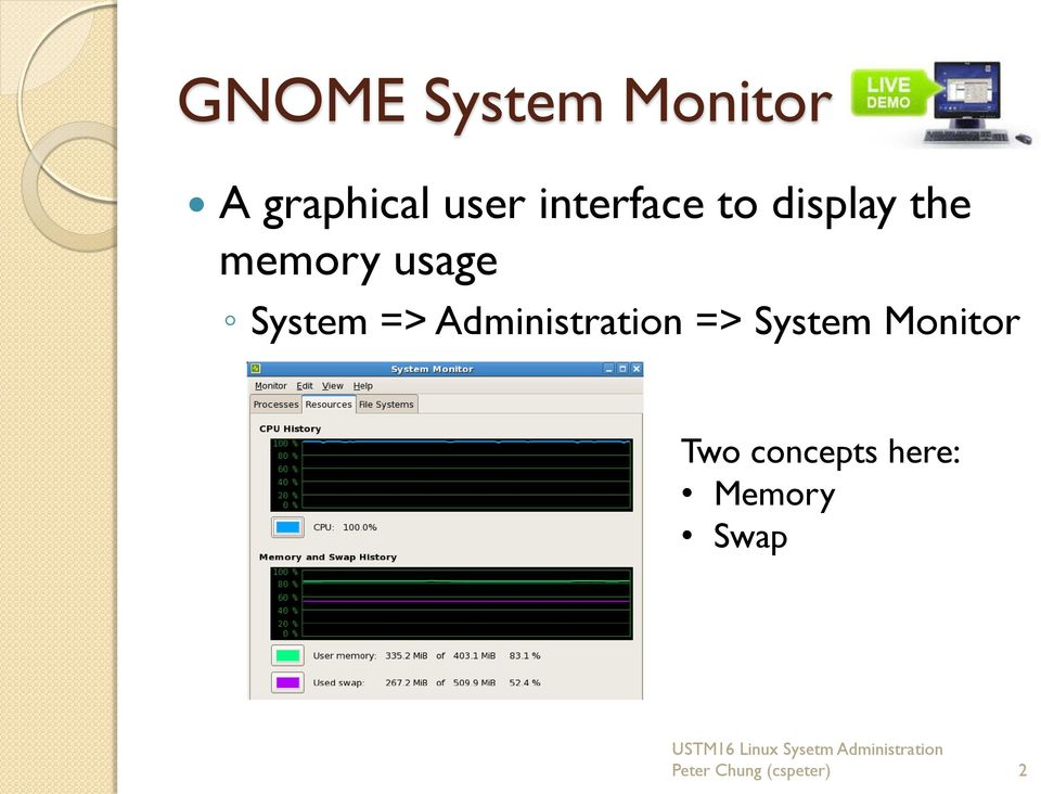 System => Administration => System Monitor