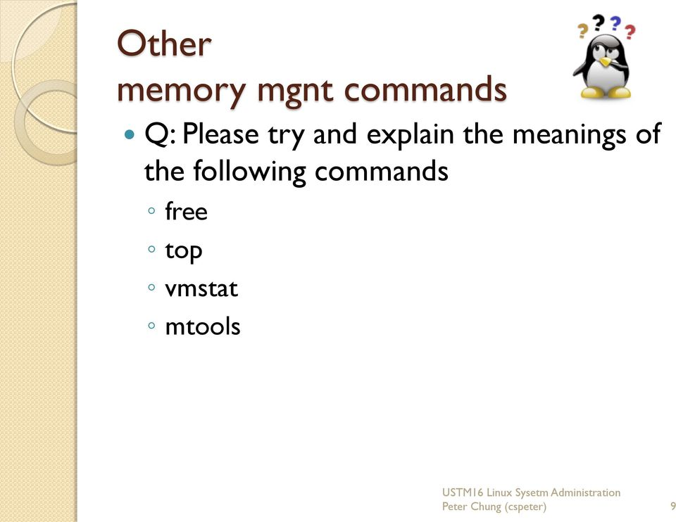 meanings of the following commands