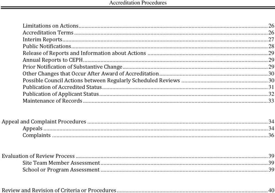 .. 30 Possible Council Actions between Regularly Scheduled Reviews... 30 Publication of Accredited Status... 31 Publication of Applicant Status... 32 Maintenance of Records.