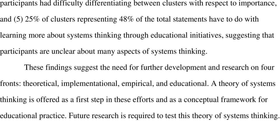 These findings suggest the need for further development and research on four fronts: theoretical, implementational, empirical, and educational.