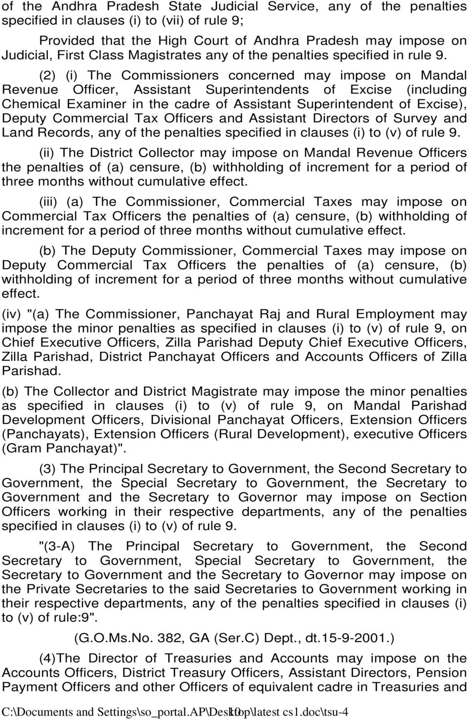 (2) (i) The Commissioners concerned may impose on Mandal Revenue Officer, Assistant Superintendents of Excise (including Chemical Examiner in the cadre of Assistant Superintendent of Excise), Deputy