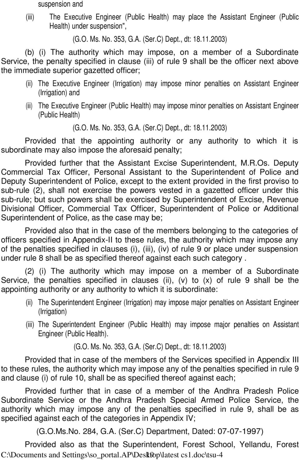 officer; (ii) The Executive Engineer (Irrigation) may impose minor penalties on Assistant Engineer (Irrigation) and (iii) The Executive Engineer (Public Health) may impose minor penalties on