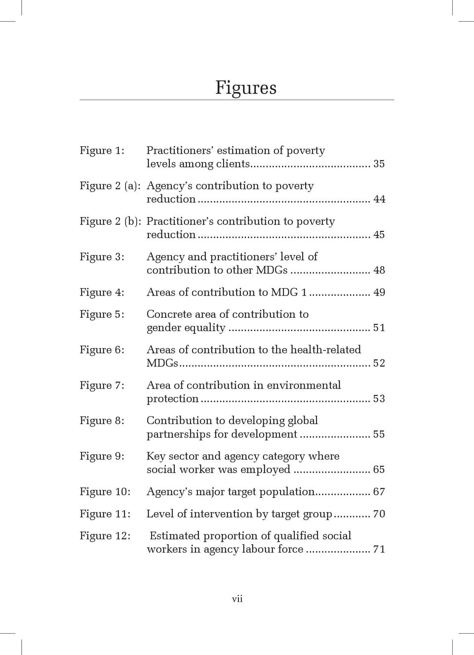 .. 49 Figure 5: Concrete area of contribution to gender equality... 51 Figure 6: Areas of contribution to the health-related MDGs... 52 Figure 7: Area of contribution in environmental protection.