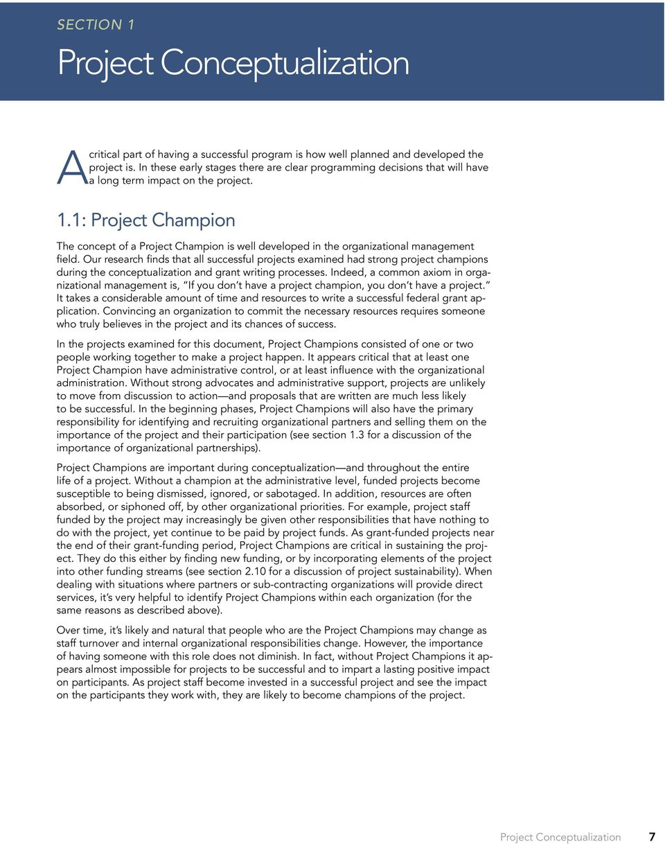 1: Project Champion The concept of a Project Champion is well developed in the organizational management field.