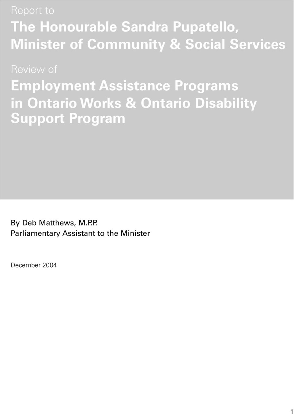 Ontario Works & Ontario Disability Support Program By Deb