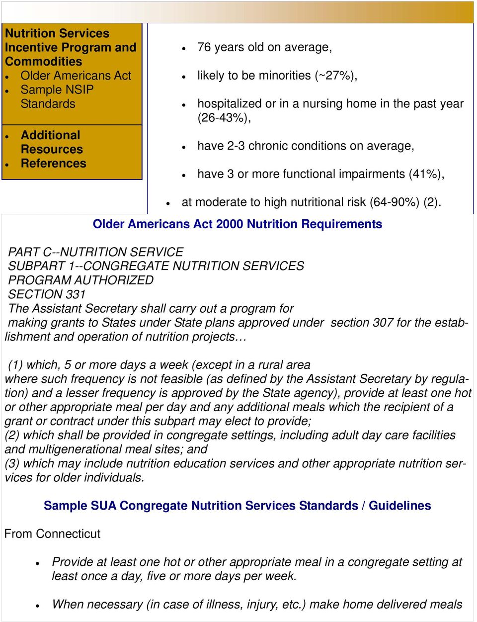 SERVICE SUBPART 1--CONGREGATE NUTRITION SERVICES PROGRAM AUTHORIZED SECTION 331 The Assistant Secretary shall carry out a program for making grants to States under State plans approved under section