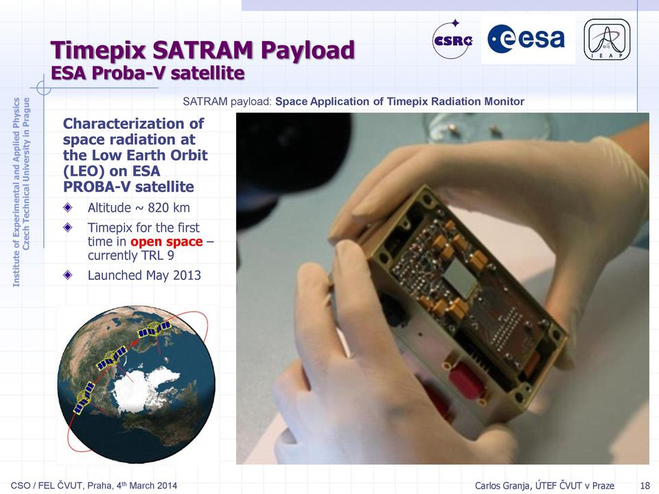 open space currently TRL 9 Launched May 2013 SATRAM payload: Space Application of Timepix