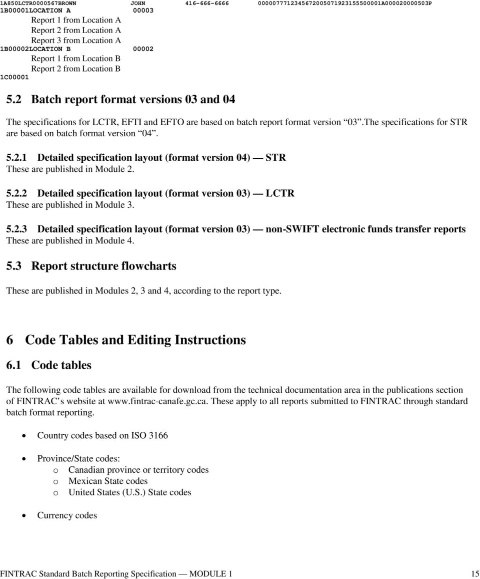 2 Batch report format versions 03 and 04 The specifications for LCTR, EFTI and EFTO are based on batch report format version 03.The specifications for STR are based on batch format version 04. 5.2.1 Detailed specification layout (format version 04) STR These are published in Module 2.