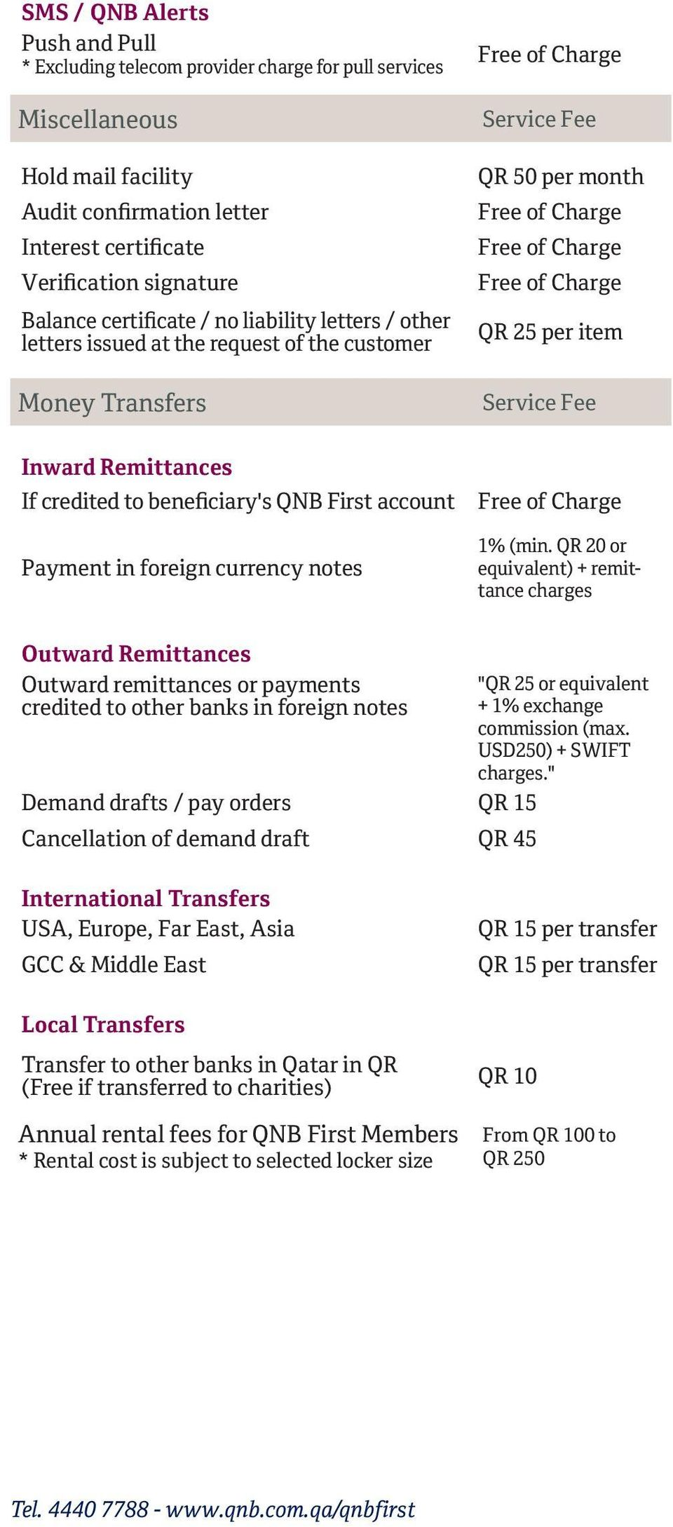 account Payment in foreign currency notes 1% (min.