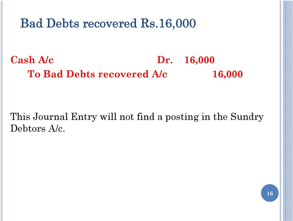 16,000 To Bad Debts recovered A/c