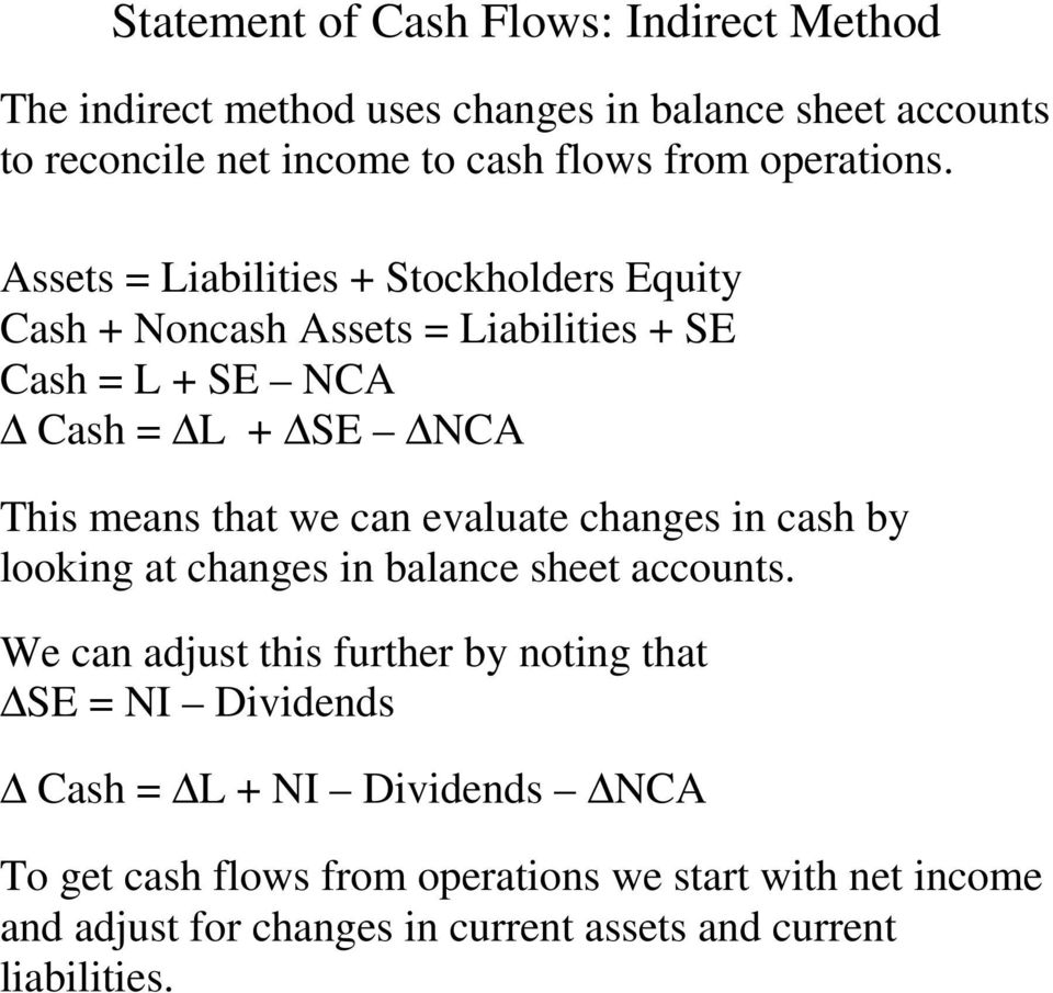 Assets = Liabilities + Stockholders Equity Cash + Noncash Assets = Liabilities + SE Cash = L + SE NCA Cash = L + SE NCA This means that we can