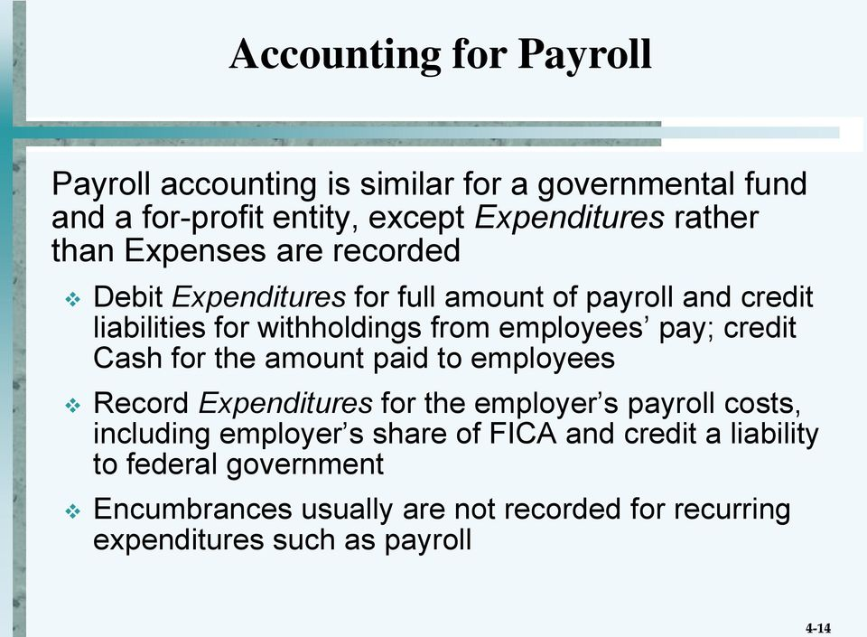 employees pay; credit Cash for the amount paid to employees Record Expenditures for the employer s payroll costs, including