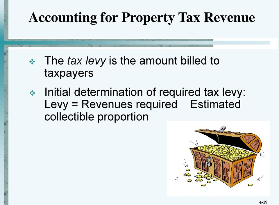 Initial determination of required tax levy:
